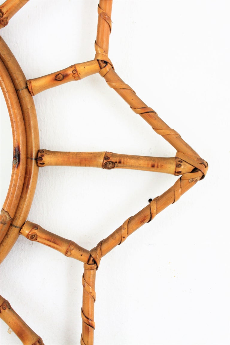 French Riviera Bamboo and Rattan Starburst Sunburst Mirror, France, 1950s For Sale 1
