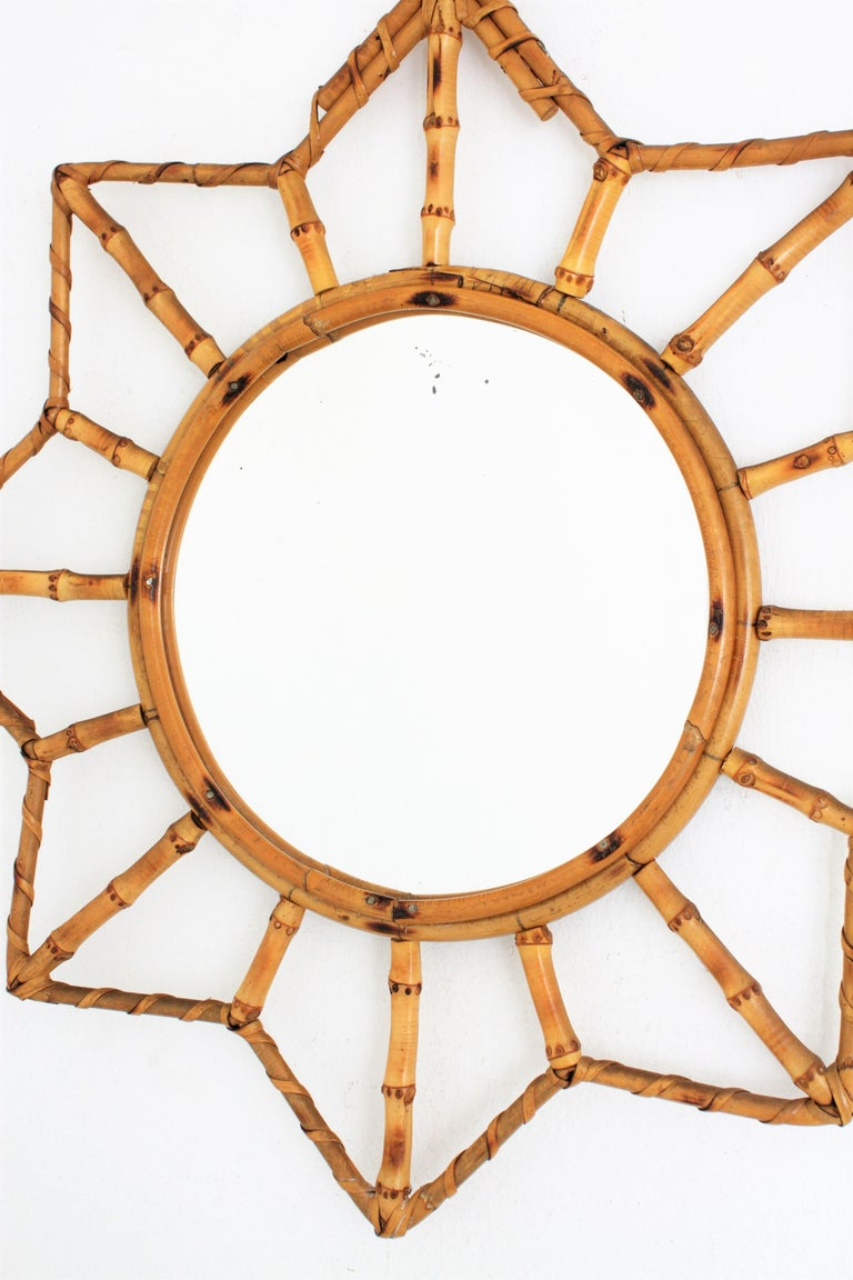 French Riviera Bamboo and Rattan Starburst Sunburst Mirror, France, 1950s For Sale 2