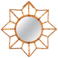French Riviera Bamboo and Rattan Starburst Sunburst Mirror, France, 1950s