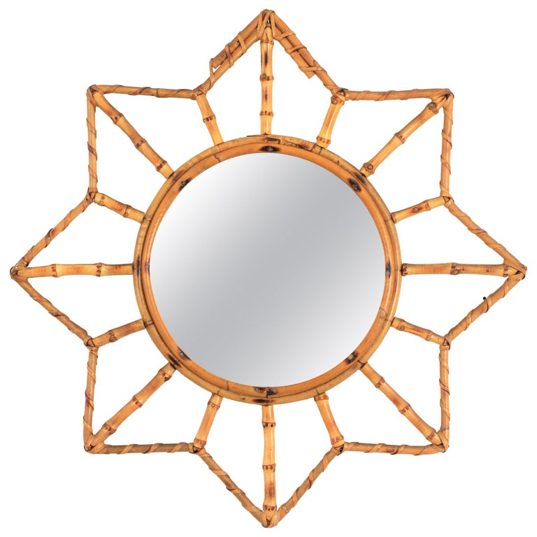 French Riviera Bamboo and Rattan Starburst Sunburst Mirror, France, 1950s For Sale