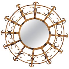 French Riviera Bamboo Rattan Sunburst Mirror Framed, Semicircles, France, 1950s