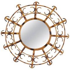 French Riviera Bamboo Rattan Sunburst Mirror Framed, Semicircles, France, 1950s
