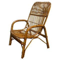 French Riviera Italian Bamboo and Rattan Armchair, 1960s