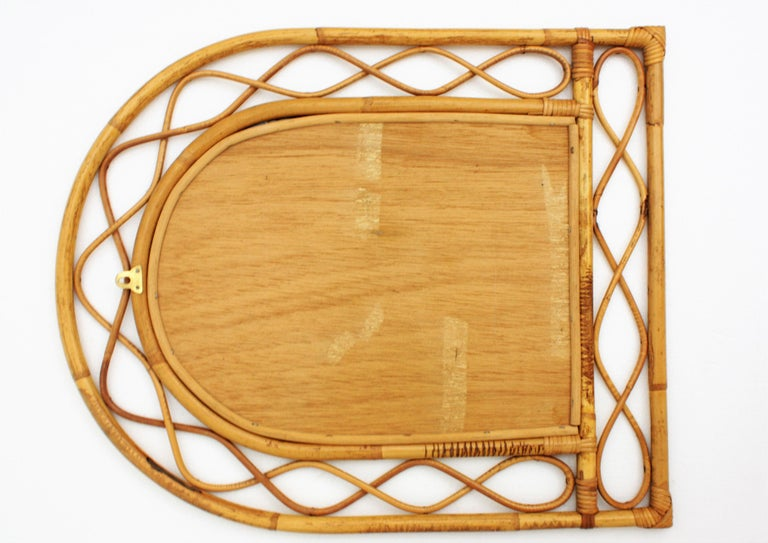 French Riviera Midcentury Semi Oval Bamboo and Rattan Mirror For Sale 5