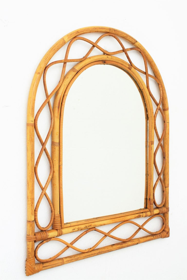 Mid-Century Modern French Riviera Midcentury Semi Oval Bamboo and Rattan Mirror For Sale