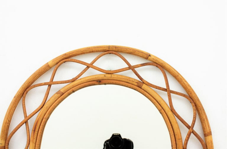 French Riviera Midcentury Semi Oval Bamboo and Rattan Mirror For Sale 4