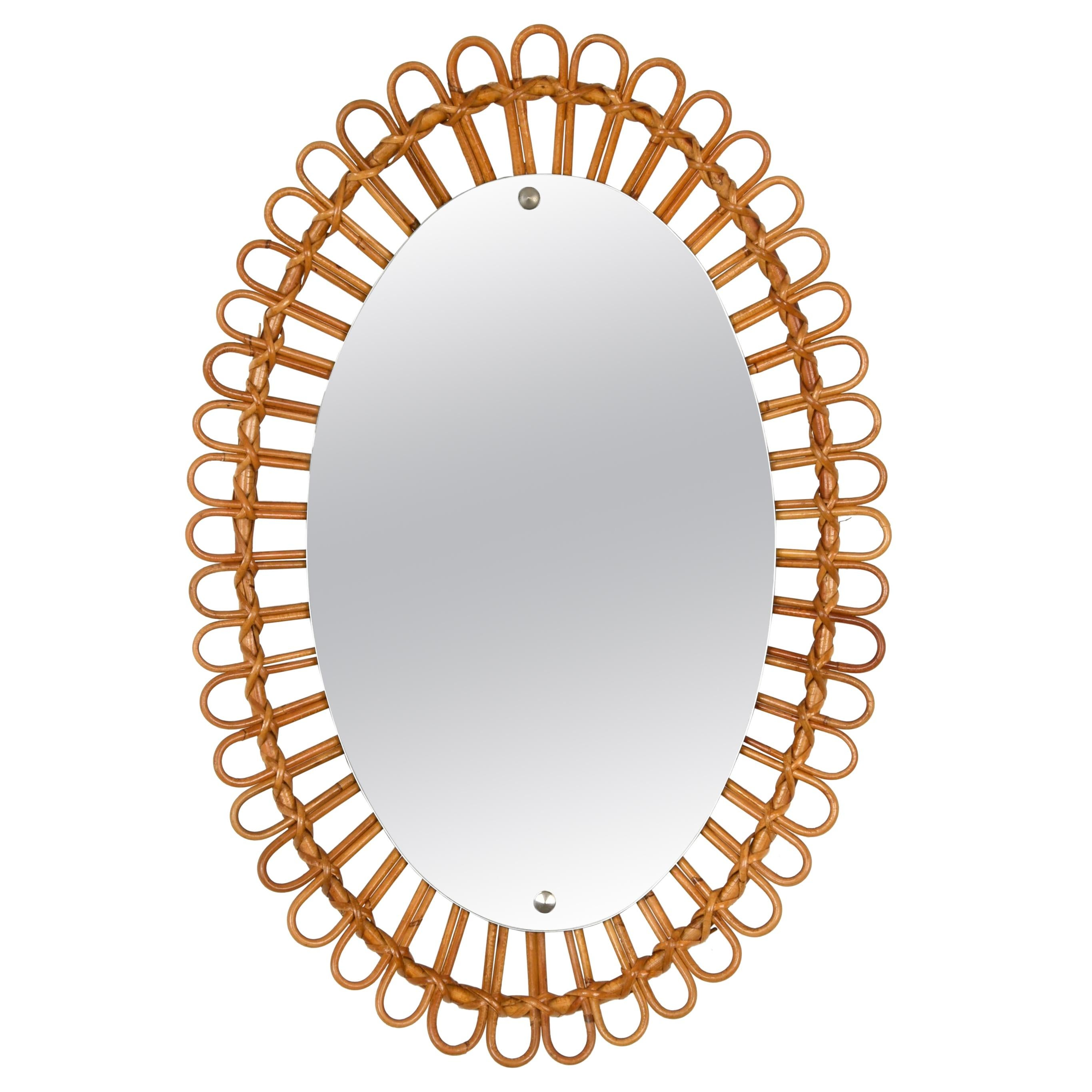 French Riviera Midcentury Rattan and Bamboo Italian Oval Mirror, 1950s