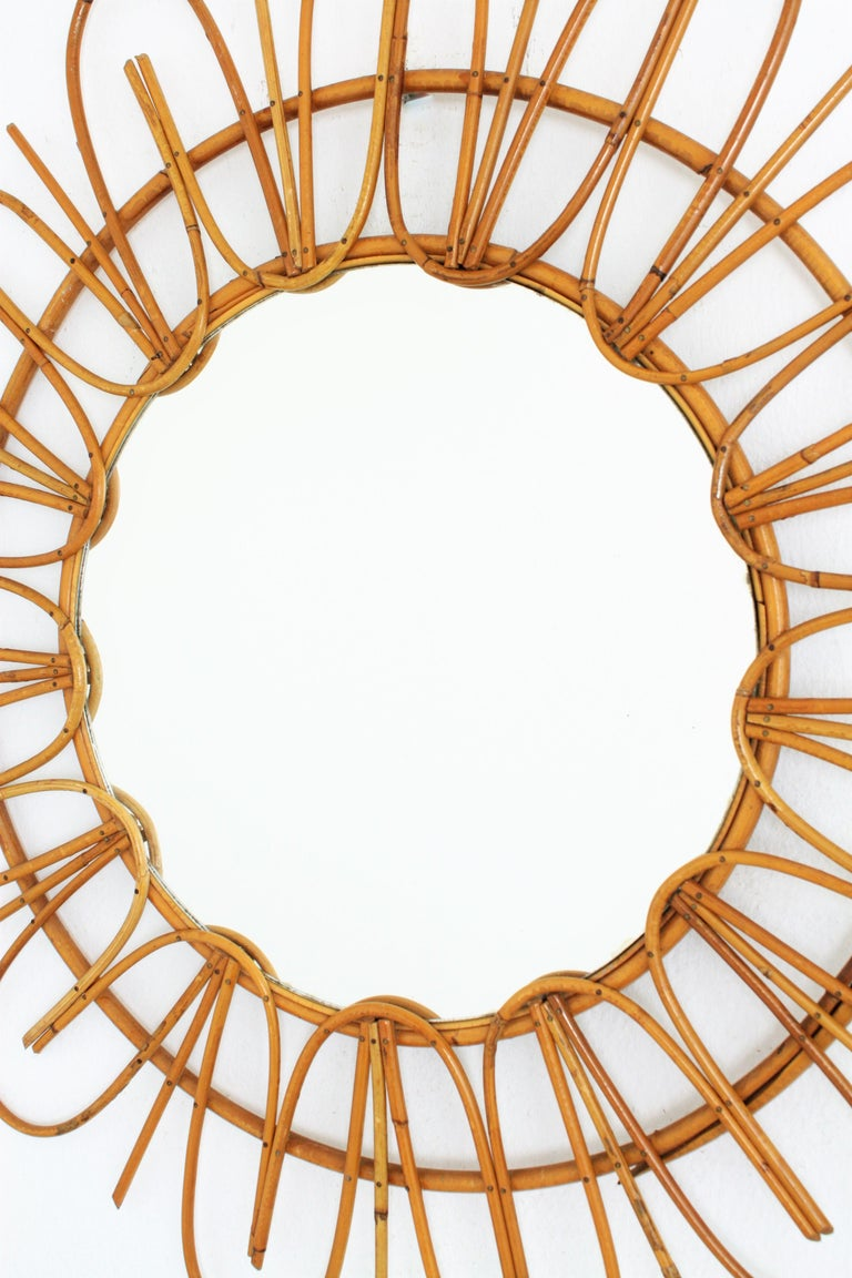 Hand-Crafted French Riviera Midcentury Rattan Flower Shaped Sunburst Mirror For Sale