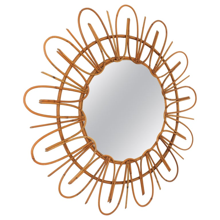French Riviera Midcentury Rattan Flower Shaped Sunburst Mirror For Sale