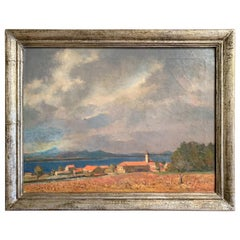 French Riviera Oil on Canvas Painting Signed G. Van Puyenbroeck, Dated 1932