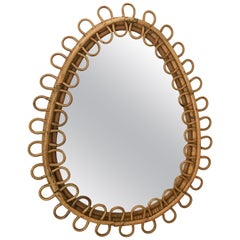Midcentury French Riviera Oval Wall Mirror in Bamboo and Rattan, 1960s