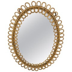 French Riviera Oval Wall Mirror in Bamboo and Rattan, 1960s Midcentury