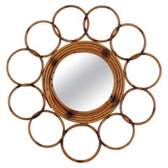 French Riviera Rattan Flower Mirror Framed by Rings, 1960s