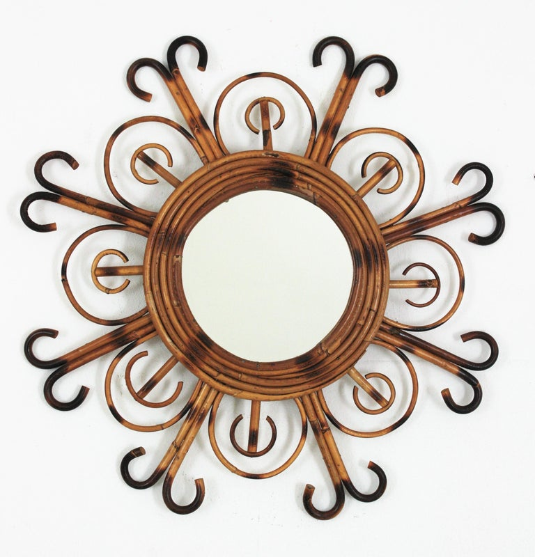 French Riviera Rattan Sunburst Mirror, 1950s For Sale 3