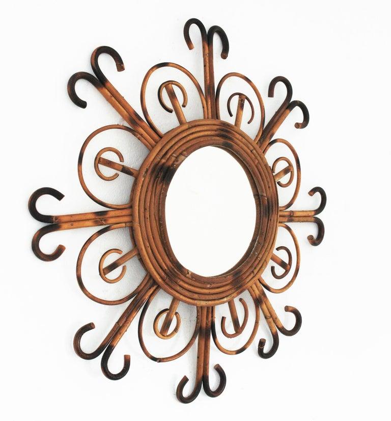 Mid-Century Modern French Riviera Rattan Sunburst Mirror, 1950s For Sale