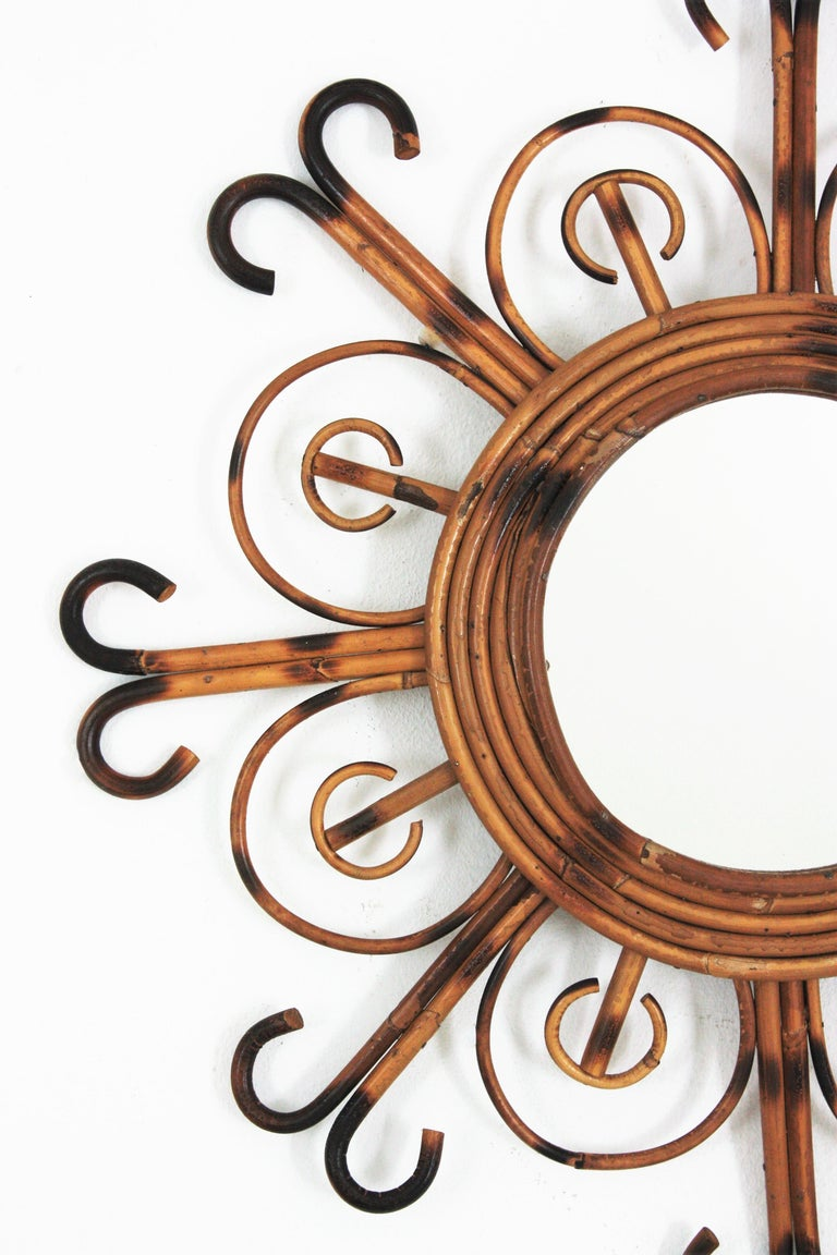 Hand-Crafted French Riviera Rattan Sunburst Mirror, 1950s For Sale