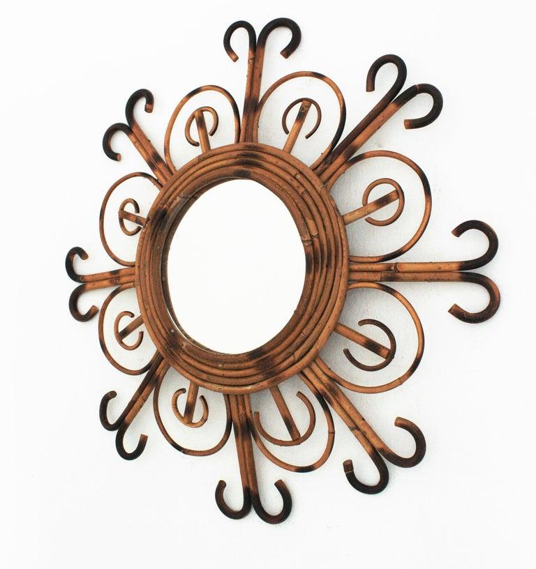 French Riviera Rattan Sunburst Mirror, 1950s For Sale 1