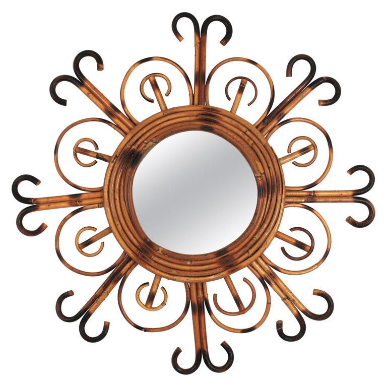 French Riviera Rattan Sunburst Mirror, 1950s For Sale