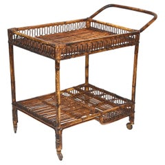 French Riviera Rectangular Bamboo and Rattan Trolley Bar Cart, France, 1960s