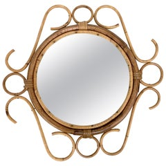 French Riviera Round Wall Mirror with Bamboo and Rattan Frame after Albini 1960s