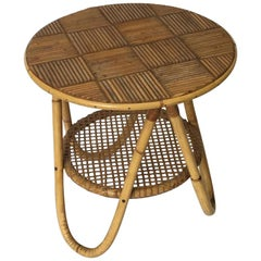 French Riviera Side Table in Bamboo and Cane, circa 1950