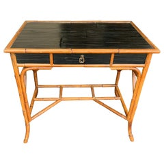 French Riviera Style Bamboo and Rattan Desk with Single Drawer