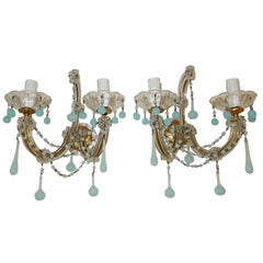 French Robbin's Egg Blue Opaline Drops and Beads Sconces, circa 1920s