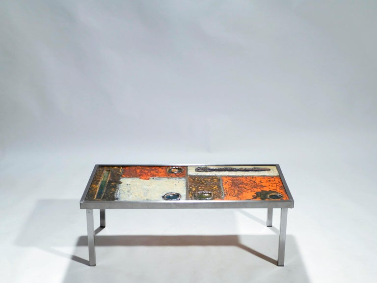 Mid-Century Modern French Robert and Jean Cloutier Ceramic Coffee Table, 1950s For Sale