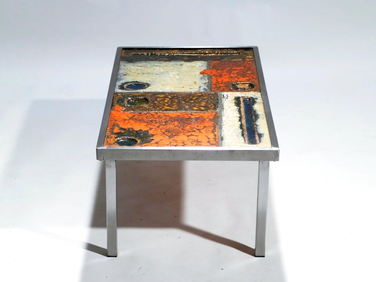 French Robert and Jean Cloutier Ceramic Coffee Table, 1950s In Good Condition For Sale In Paris, FR