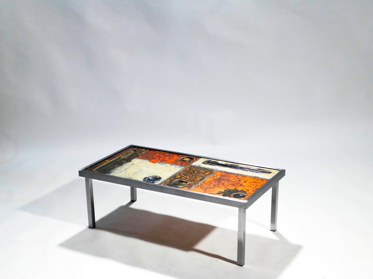 Mid-20th Century French Robert and Jean Cloutier Ceramic Coffee Table, 1950s For Sale
