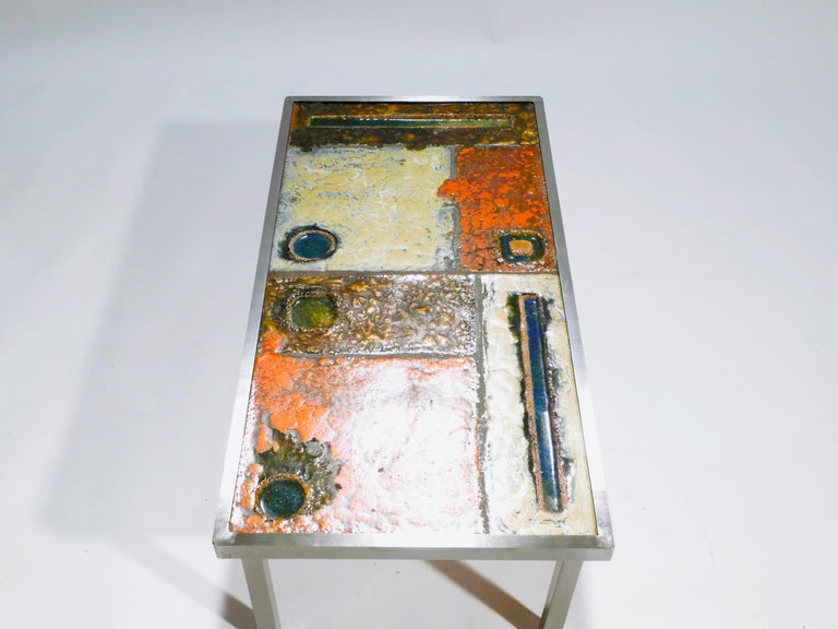 Metal French Robert and Jean Cloutier Ceramic Coffee Table, 1950s For Sale