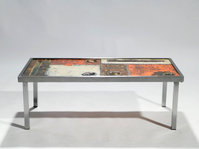 French Robert and Jean Cloutier Ceramic Coffee Table, 1950s For Sale 1