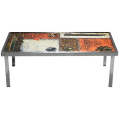 French Robert and Jean Cloutier Ceramic Coffee Table, 1950s