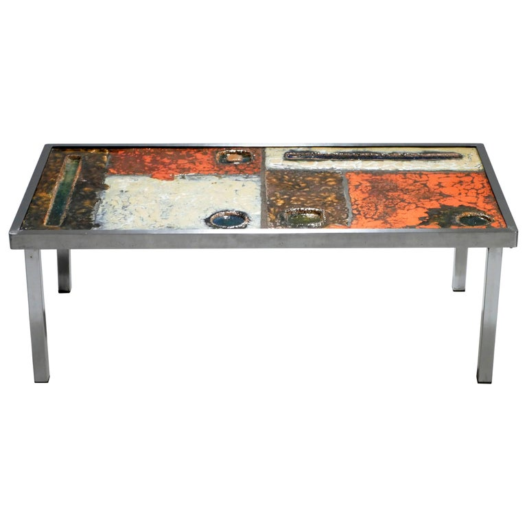 French Robert and Jean Cloutier Ceramic Coffee Table, 1950s For Sale