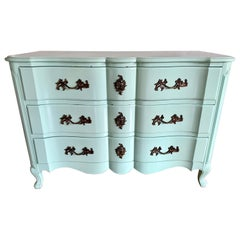 French Robins Egg Blue Lacquered Three-Drawer Dresser Chest of Drawers Commode