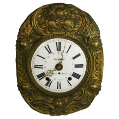 French Rocheron Enameled and Brass Clock Fase