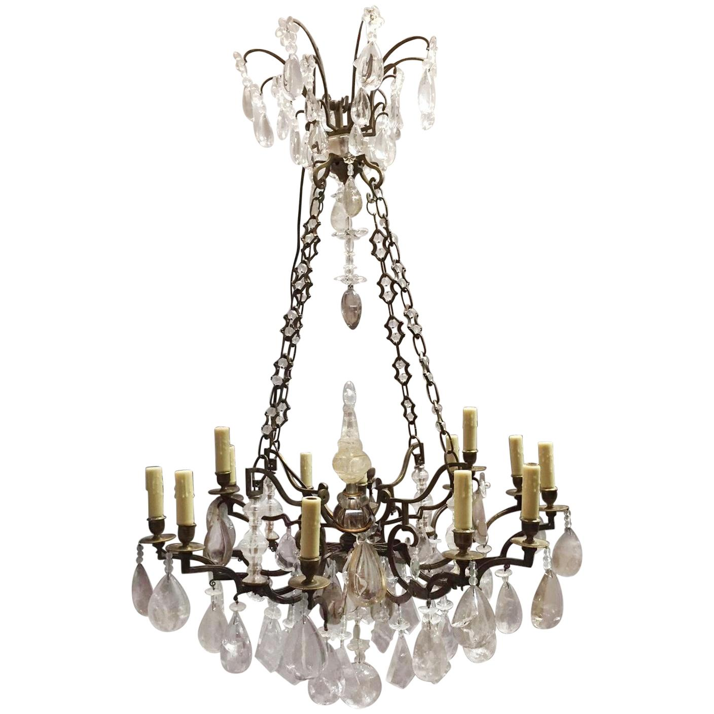 French Rock Crystal and Bronze Chandelier, 19th Century