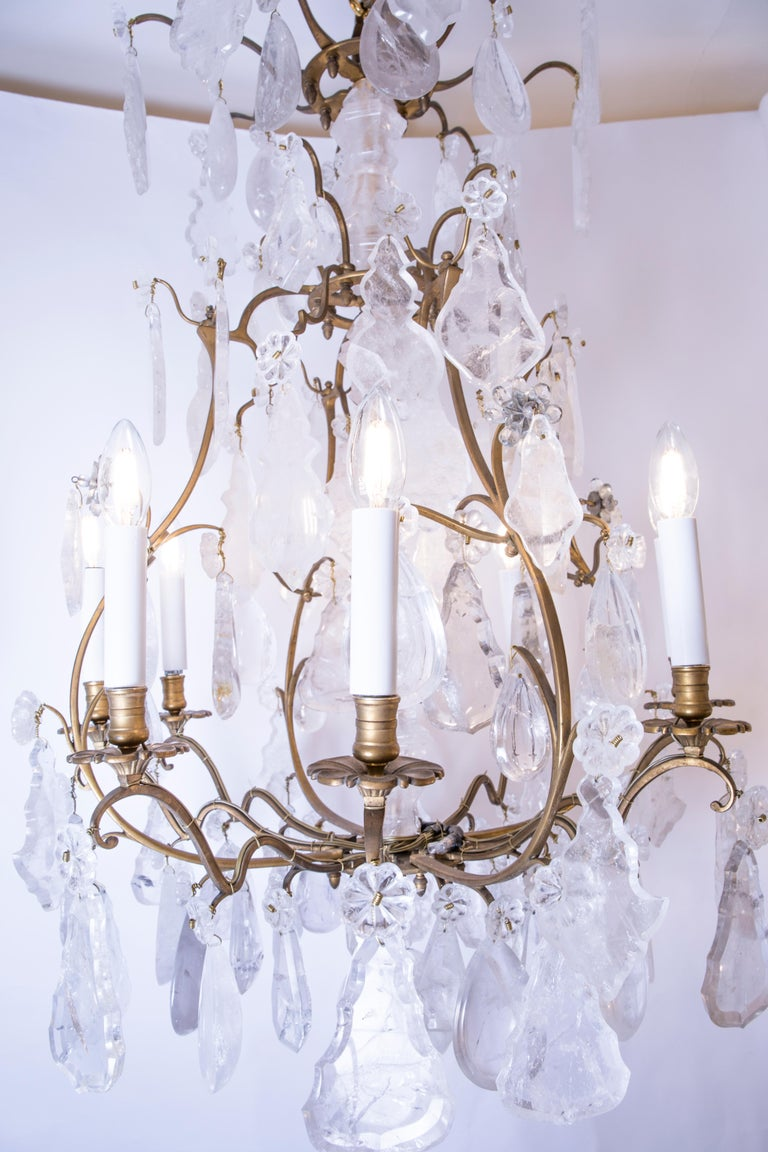 Louis XV French Rock Crystal Chandelier, circa 1880 For Sale