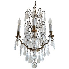 French Rock Crystal Chandelier, Late 19th Century