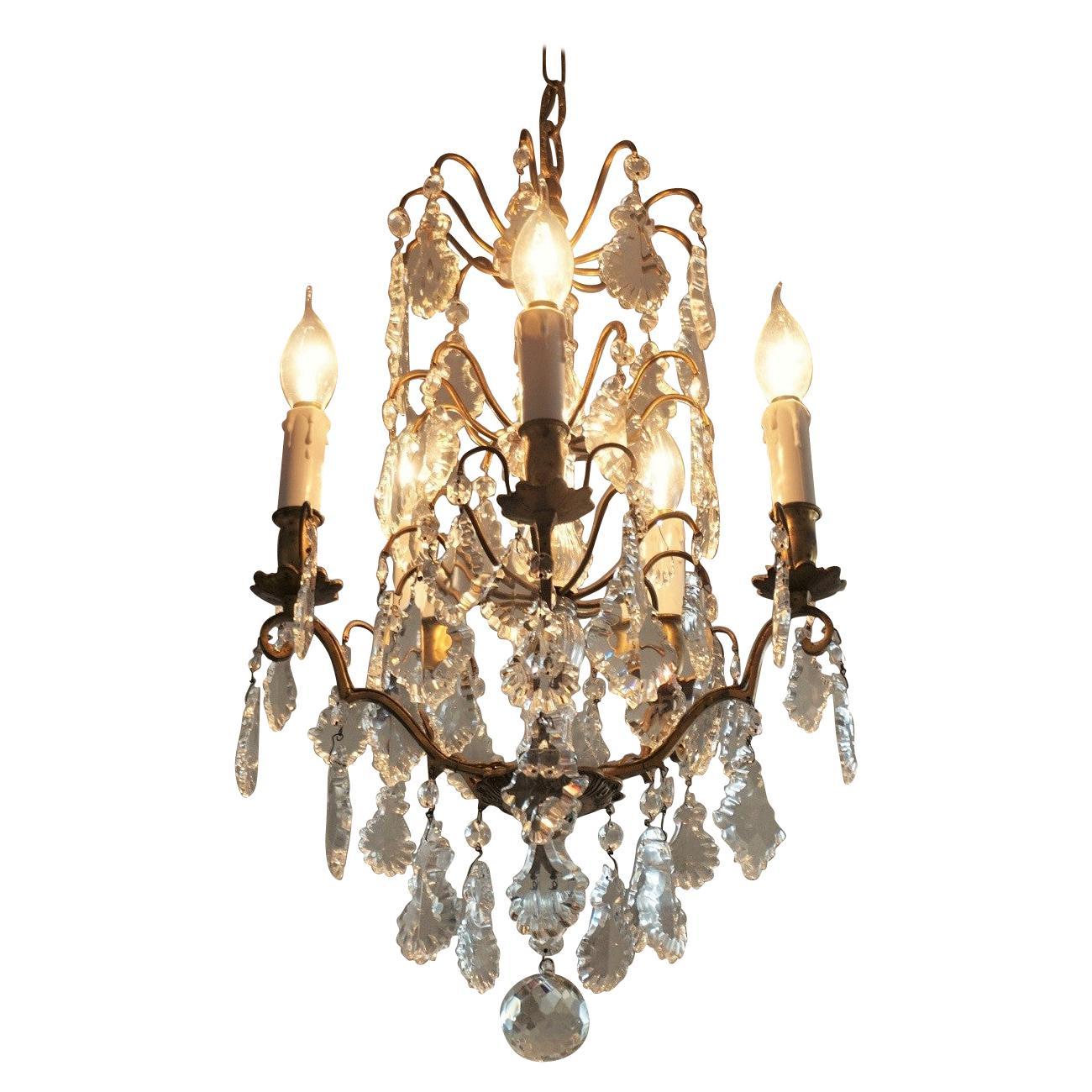 19th Century Baccarat Crystal Chandelier Five-Light Chandelier