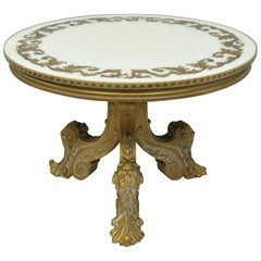 French Rococo Baroque Style Gold Italian Round Fancy Glass Top Tall Coffee Table