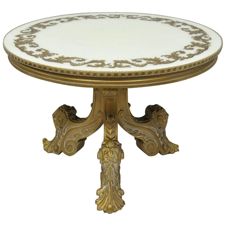 French Rococo Baroque Style Gold Italian Round Fancy Gl Top Tall Coffee Table For