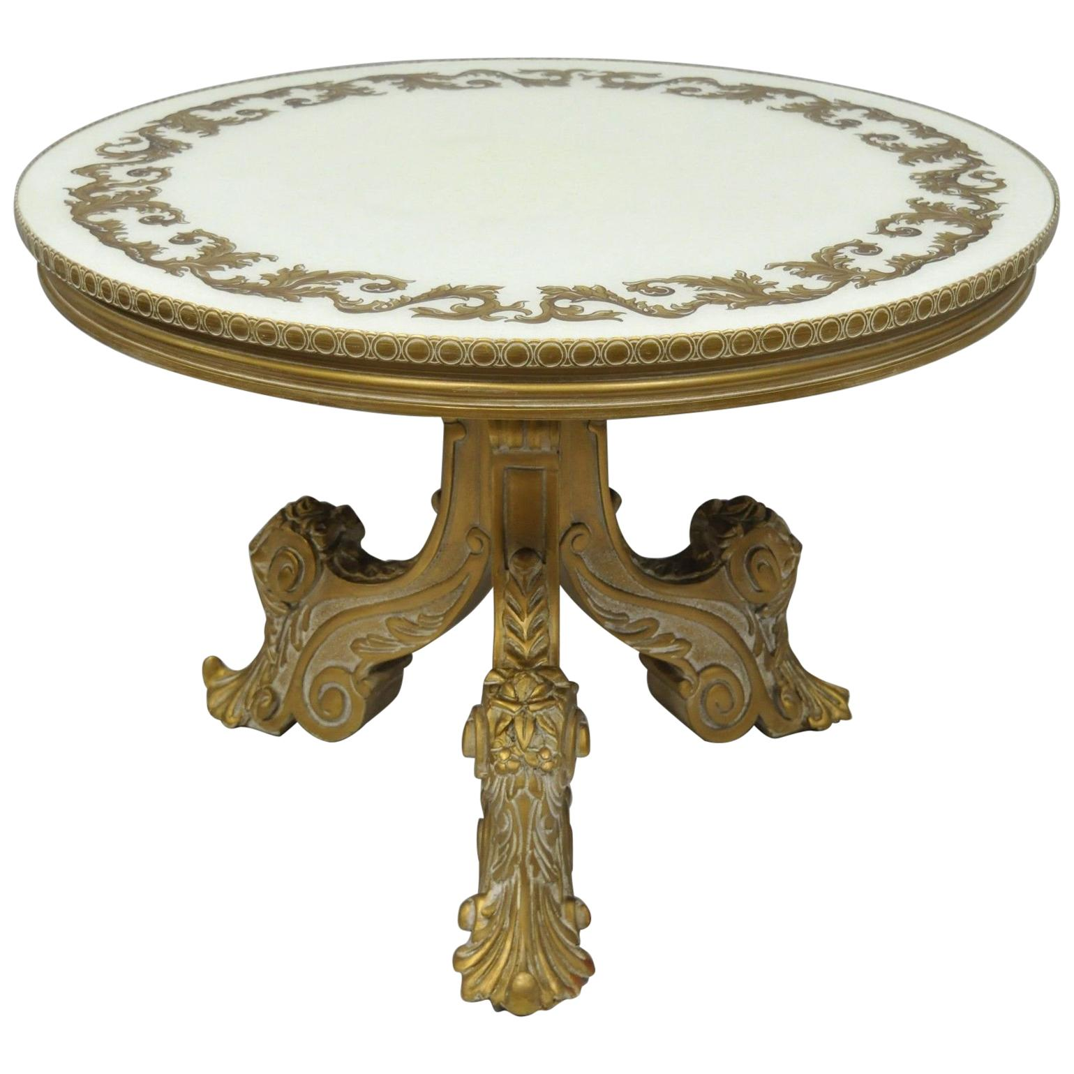 Bon French Rococo Baroque Style Gold Italian Round Fancy Glass Top Tall Coffee  Table For Sale
