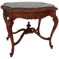 French Rococo Black Marble-Top Walnut Table