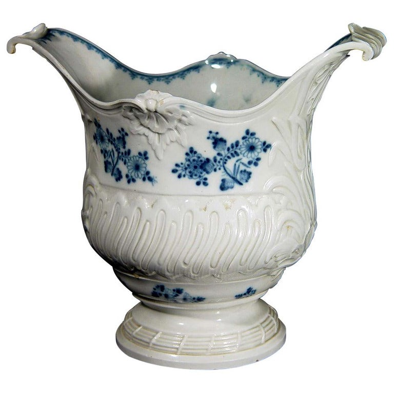 French Rococo Blue and White Porcelain Wine Cooler For Sale