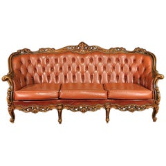 French Rococo Carved Walnut Louis XV Style Tufted Sofa Couch, circa 1940