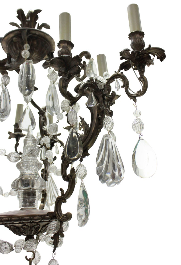 French Rococo Chandelier in Bronze with Cut Glass In Good Condition For Sale In London, GB