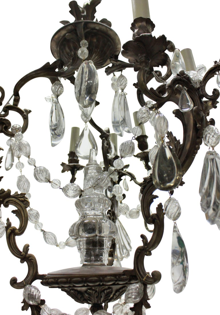 19th Century French Rococo Chandelier in Bronze with Cut Glass For Sale