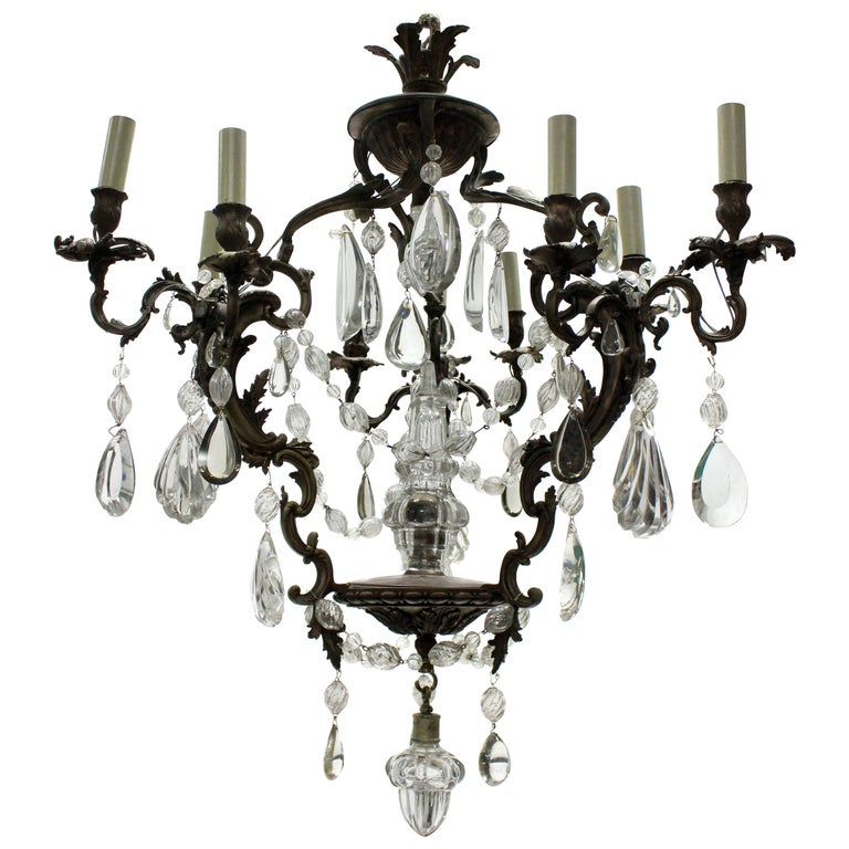 French Rococo Chandelier in Bronze with Cut Glass For Sale