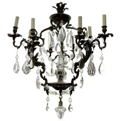 French Rococo Chandelier in Bronze with Cut Glass